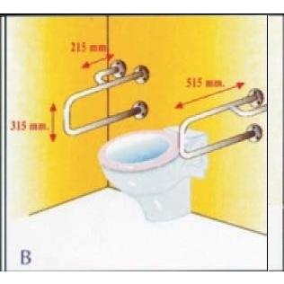 Barra asidero | soporte de seguridad | acero inoxidable | 515 x 315mm | Mobiclinic