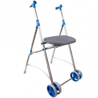 Andador con ruedas | Plegable | Aluminio | Asiento | Color azul | ARA-C | Forta