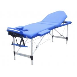 Camilla plegable| Aluminio | Reposacabezas | Portátil | 186 x 60 cm | Masaje | Azul | CA-01 PLUS | Mobiclinic