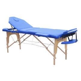 Camilla plegable | Madera | Reposacabezas | Portátil | 186 x 60 cm | Masaje | Azul | CM-01 PLUS | Mobiclinic