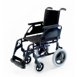 "Silla de ruedas Breezy Premium (antigua 250) de acero en color azul con ruedas de 12"""