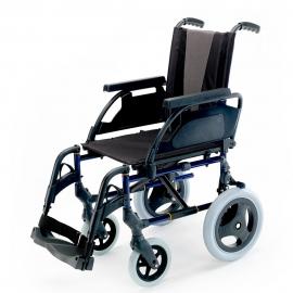Silla de ruedas Breezy Style (antigua 300) de aluminio en color azul con rueda pequeña de 12