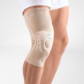 Bauerfeind Vendaje rodilla elástico | Protección rótula | Flejes laterales y almohadilla | Beige | Varias tallas | GenuTrain