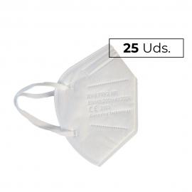 25 Mascarillas Adulto FFP2 | 0,73€/ud | Autofiltrantes | 5 capas | Marcado CE | Caja de 25 uds