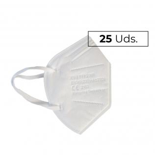 25 Mascarillas Adulto FFP2   0,73€/ud   Autofiltrantes   5 capas   Marcado CE   Caja de 25 uds
