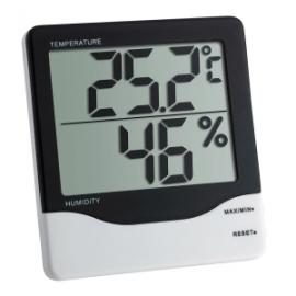 Termohigrómetro de interior | Mide grado de humedad | 110x102x21mm | Pantalla doble |Memoria máx. y mín.