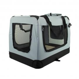 Transportín para mascotas   Talla L   Soporta 15 kg   67x50x49 cm   Plegable  Gris   Balú   Mobiclinic