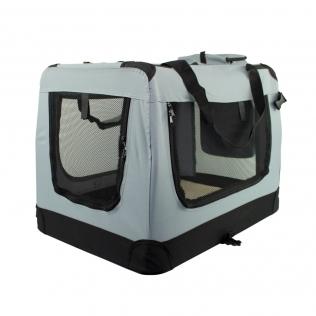Transportín para mascotas | Talla L | Soporta 15 kg | 70x52x50 cm | Plegable |Gris | Balú | Mobiclinic