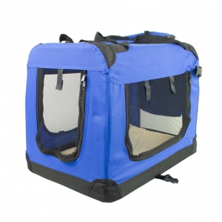 Transportín para mascotas | Talla M | Soporta 10 kg | 60x42x44 cm | Plegable | Azul | Balú | Mobiclinic