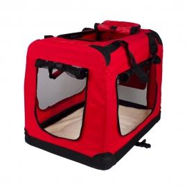 Transportín para mascotas | Talla M | Soporta 10 kg | 57x38x44 cm | Plegable | Rojo | Balú | Mobiclinic