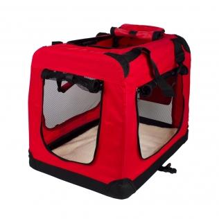 Transportín para mascotas   Talla M   Soporta 10 kg   60x42x44 cm   Plegable   Rojo   Balú   Mobiclinic