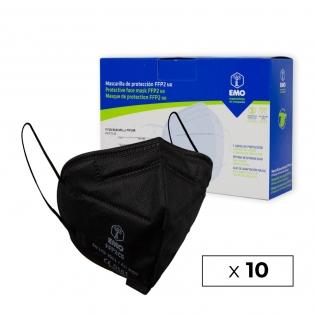 10 Mascarillas Adulto FFP2 | Negro | 0,94€ud | Autofiltrantes | Marcado CE | Caja de 10 uds | EMO