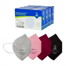 40 Mascarillas Adulto FFP2 | Varios colores | Autofiltrantes | Marcado CE | 4 cajas de 10 uds | EMO