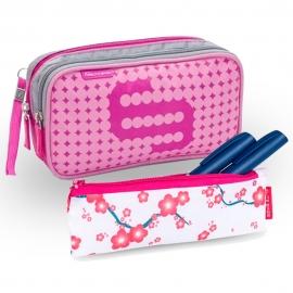 Pack bolsa isotérmica y estuche | Rosa y estampado de flores | Poliéster, fibra de carbono | Dia's e Insulin's | Elite Bags