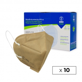 10 Mascarillas Adulto FFP2 | Beige | 0,89€/ud | Autofiltrantes | Marcado CE | Caja de 10 uds | EMO