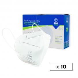 10 Mascarillas Adulto FFP2 | Blanco | 0,89€/ud | Autofiltrantes | Marcado CE | Caja de 10 uds | EMO