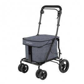 Carro de la compra | Plegable | Con asiento | Color gris