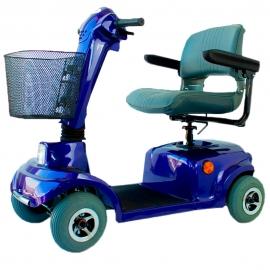 Scooter eléctrico | Auton. 34 km | 4 ruedas | Asiento giratorio y plegable | 12V | Azul | Piscis |Mobiclinic