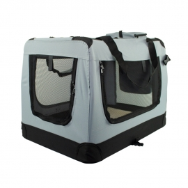 Transportín para mascotas   Talla S   Soporta 8 kg   50x34x36 cm   Plegable   Gris   Balú   Mobiclinic