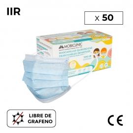 50 masques chirurgicaux IIR pour enfants (ou adultes taille XS)   0,15€/pièce   Sans graphène   Boîte de 50 pièces   Mobiclinic