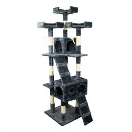 Kratzbaum für Katzen   Groß   3 Höhen   50x50x170cm   Grau   Tom   Mobiclinic