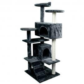 Kratzbaum für Katzen   Groß   3 Höhen   50x50x132 cm   Grau   Tico   Mobiclinic