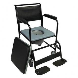Chaise percée avec roues et couvercle | Repose-pieds rabattables et accoudoirs amovibles | Noire | Barco | Mobiclinic