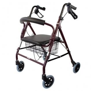 Déambulateur 4 roues | Pliable | Aluminium léger | Assise et dossier | Bordeaux | Escorial | Mobiclinic