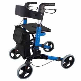Déambulateur à 4 roues avec freins VIP| Pliable et réglable | Assise et dossier | Bleu ciel | Trajano | Mobiclinic