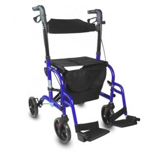 Déambulateur et fauteuil roulant pliable DELUXE | 2 en 1 | Hauteur réglable avec panier et siège | Bleu | Picasso | Mobiclinic