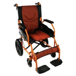 Fauteuil roulant léger | Repose-pieds et dossier | Accoudoirs rembourrés | Aluminium | Orange | Pirámide | Mobiclinic
