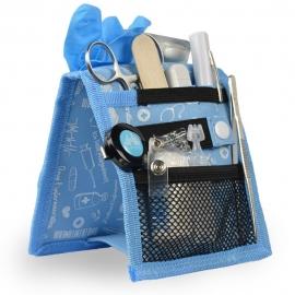 Organiseur de matériel infirmier pour blouse | Bleu à motifs | Keen's de Mobiclinic | Elite Bags