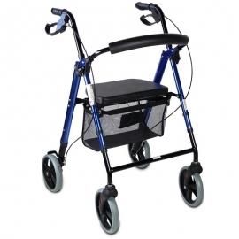 Déambulateur 4 roues | Pliable et réglable | Avec panier et freins | Bleu | Hércules | Mobiclinic