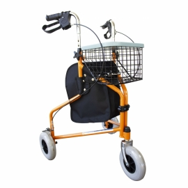 Déambulateur à 3 roues | Pliable et reglable | Panier et Sac | Orange | Caleta | Mobiclinic