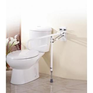 Double Barre d'appui rabattable | Pour la salle de bain | Avec pied et réglable en hauteur