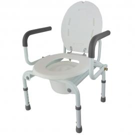 Toilette avec chaise pliante avec accoudoirs réglables et hauteur