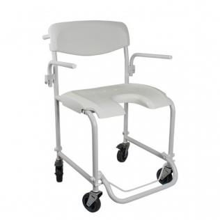 Chaise de douche à roulettes | Avec accoudoirs | Repose-pieds pliables | Blanc | Invacare