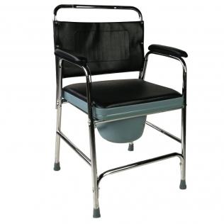 Chaise percée/toilette | Avec couvercle, embouts antidérapants, assise et accoudoirs rembourrés | Velero | Mobiclinic