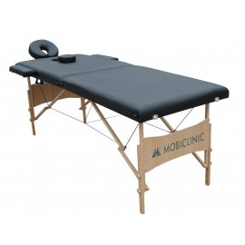 Table de massage pliante   Kinesithérapie   Bois   Revêtement similicuir   186x60 cm   Noir   CM-01 Light   Mobiclinic