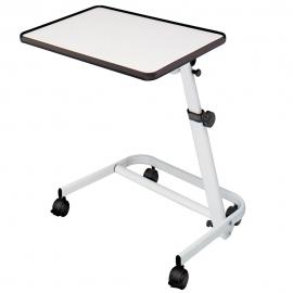 Table de lit pliante | Inclinable et avec roues et frein blanc | Pour personnes malades ou handicapées