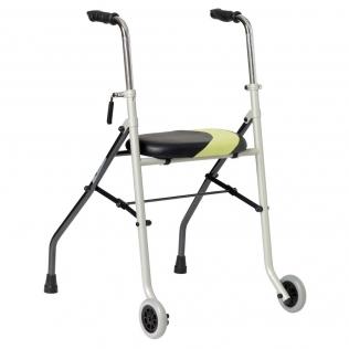 Déambulateur très léger avec 2 roues | Avec siège | En acier inoxidable | Réglable au hauteur | INVACARE | ®Actio2