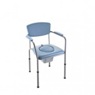 Chaise percée | Chaise de toilettes orthopédique | Accoudoirs, siège rembourré, et dossier | Réglable en hauteur