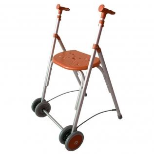 Déambulateur à deux roues pliable | Rollator réglable en hauteur | Couleur Saumon | Aluminium | Mod. Kamaleón