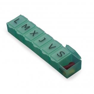 Pilulier semainier | 1 prise quotidienne | Matériaux résistants | Couleur verte