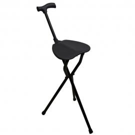 Canne trépied | Faite en aluminium | Avec siège pliable | Couleur Noir | Poids Max 100 kg