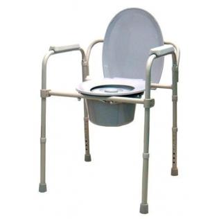 Chaise percée | Chaise WC | Réglable en hauteur | Avec accoudoirs et dossier