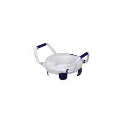 Rehausse WC sans couvercle   Avec accoudoirs   Hauteur: 11 cm   Supporte 110kg