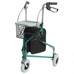 Déambulateur à 3 roues | Pliable et réglable | Panier et Sac | Vert | Caleta | Mobiclinic