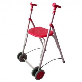 Déambulateur à deux roues pliable | Rollator réglable en hauteur | Couleur Corail | Aluminium | Mod. Kamaleón