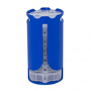 Pilulier semainier vertical | 4 prises quotidiennes | Couleur bleue